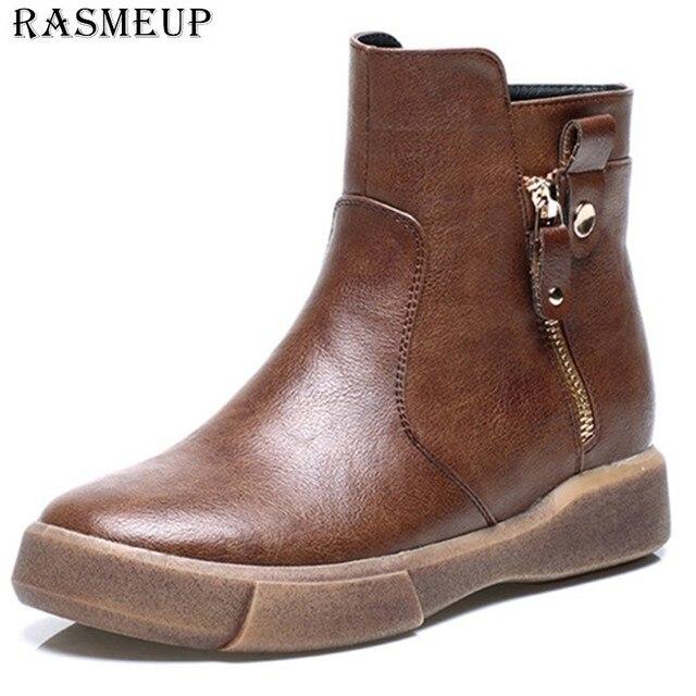 RASMEUP/кожаные женские винтажные ботильоны, коллекция 2018 года, зимние женские удобные теплые ботинки martin на плоской подошве в стиле ретро, жен...