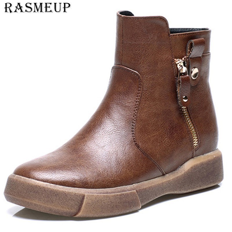RASMEUP Leather Women's Vintage Ankle Boots 2018 Winter Women Comfortable Warm Flat Martin Boots Retro Woman Black Brown Shoes