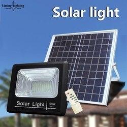 100w Solar Wiederaufladbare Led Flutlicht Scheinwerfer Solar Garten Gang Straße Flutlicht Wand Lampe Nacht Sensor Fernbedienung