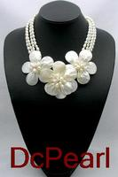 2017 Time limited Hot Sale Collares Necklaces & Pendants Maxi Necklace Natural Mother Of Shell Wired Flower 4 Strands Necklace