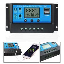 Solar Panel Charge Regulator Solar Energy System PWM 10/20/30A Solar Charge Controller 12V 24V LCD Display Dual USB #05