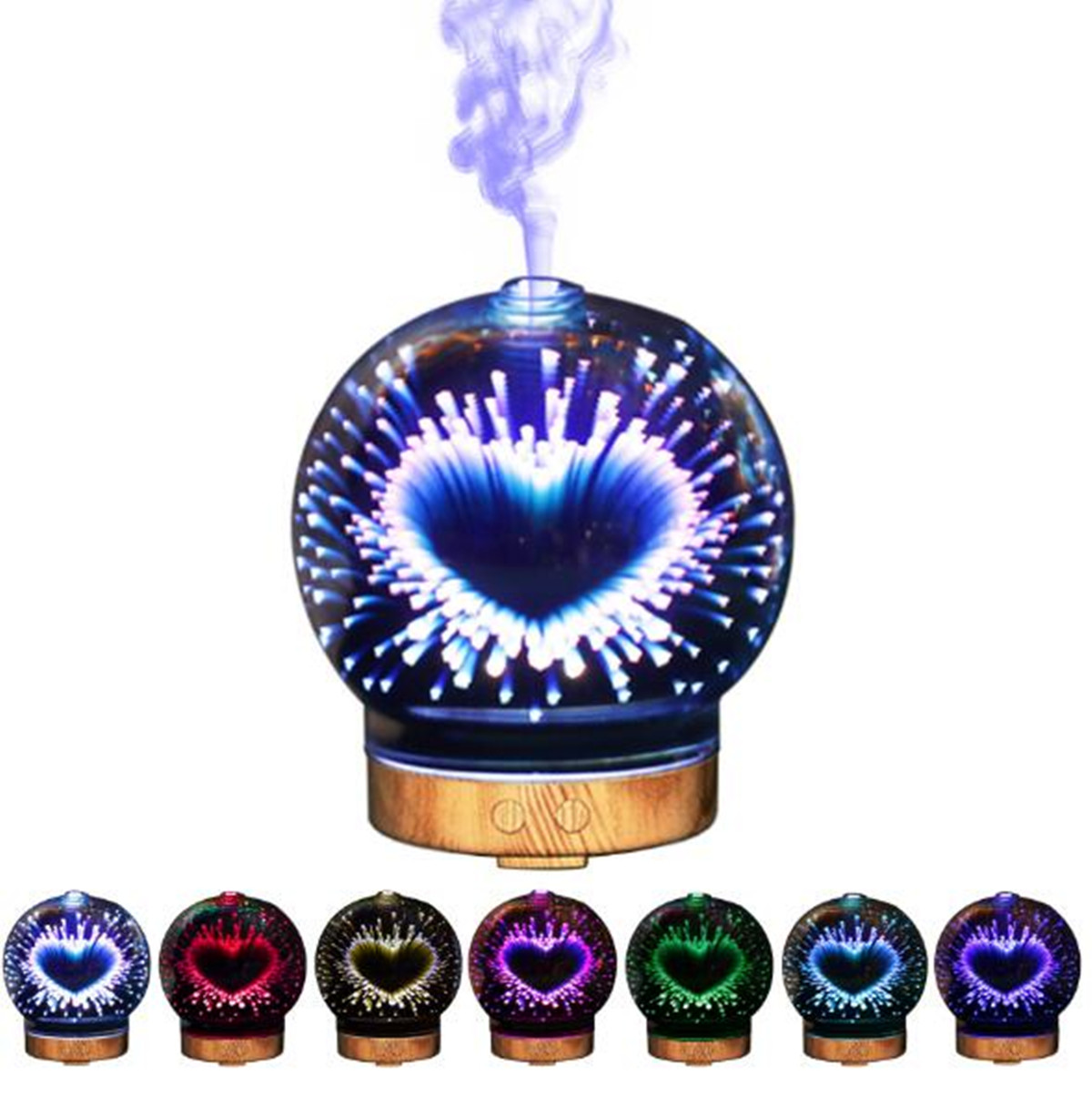 3D Heart LED Glass Ball Ultrasonic Aromatherapy Diffuser Humidifier Essential Oil Humidifier Home Air Conditioning Appliance New3D Heart LED Glass Ball Ultrasonic Aromatherapy Diffuser Humidifier Essential Oil Humidifier Home Air Conditioning Appliance New