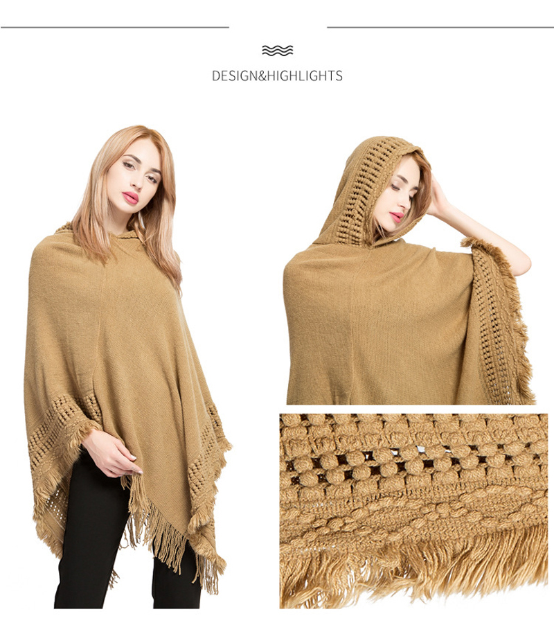 Women Cashmere Hooded Shawl Cape Knit Boho Gypsy Poncho Pashmina   Scarf     Wrap