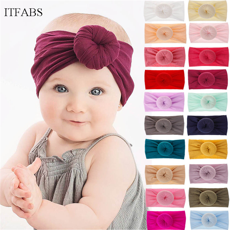 21Color Child Baby Girls Big Bow Hairband Headband Solid Cotton Stretch Turban Head Wrap Cute Baby Kids Hairband Headband 0-6Y