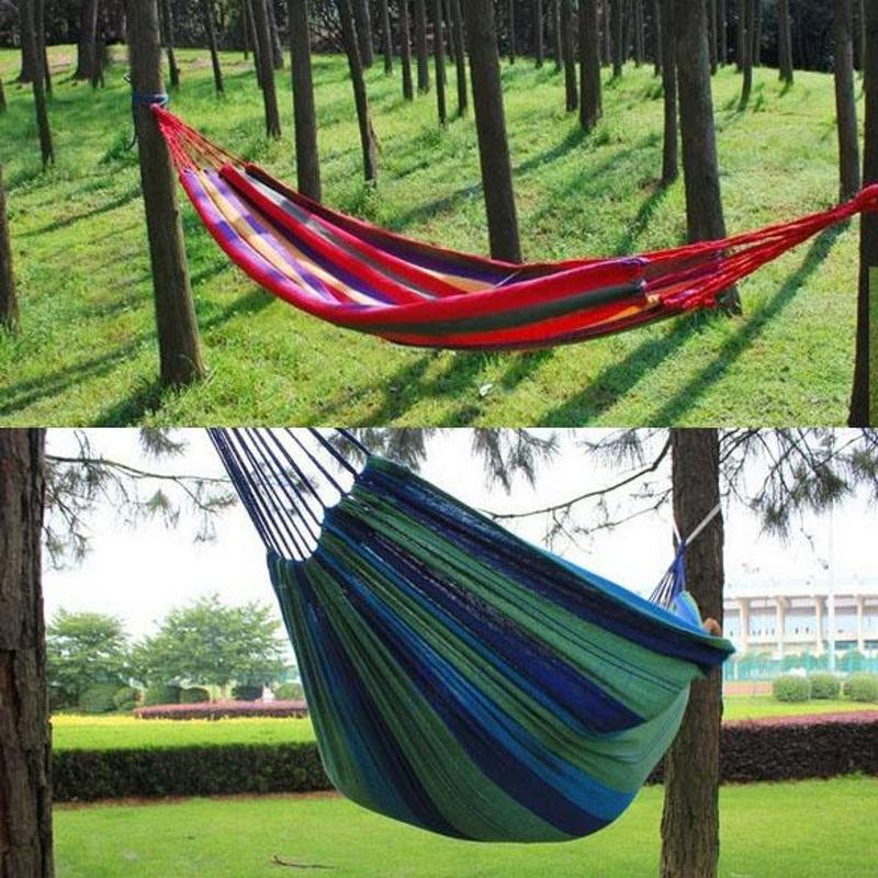 Portable Hammock Outdoor Hammock Garden Sports Home Travel Camping Swing Canvas Stripe Hang Bed Hammock Red, Blue 190 X 80cm
