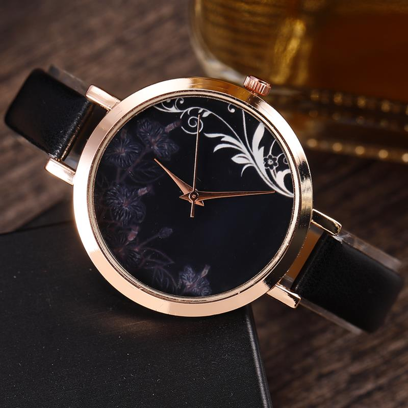 2018 Women Fashion Black Leather Strap Analog Quartz Watch L