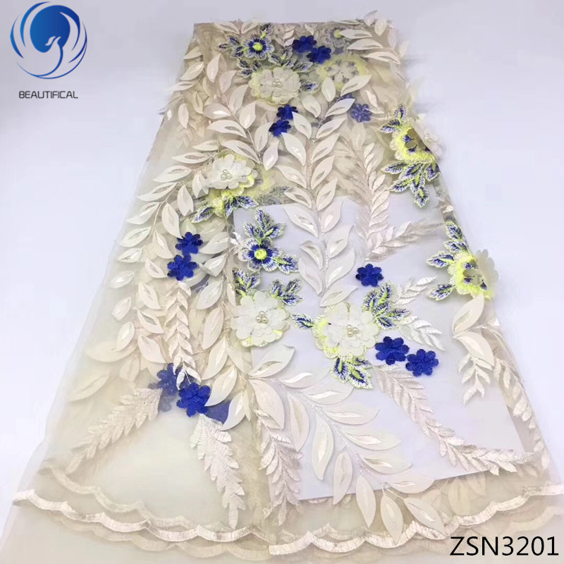 BEAUTIFICAL 3D flower lace fabrics french tulle lace fabric with beads high quality african fabric lace dress 5yards/lot ZSN32BEAUTIFICAL 3D flower lace fabrics french tulle lace fabric with beads high quality african fabric lace dress 5yards/lot ZSN32