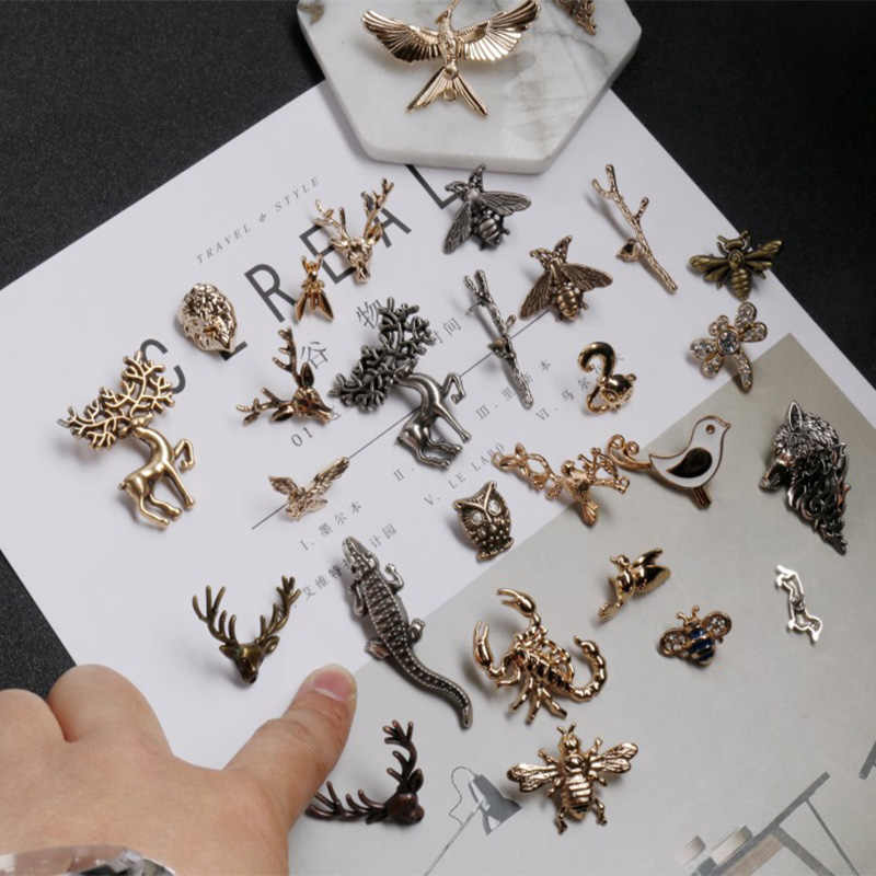 Hayvan böcek serisi arı/çiçek/kuş/geyik emaye broş yaka İğneli erkekler ve Eomen gömlek yaka klip pin giyim dekorasyon
