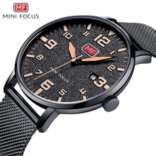 MINI FOCUS Wristwatch Mens Watches Quartz Fashion Thin Clock Men 2019 Luxury Brand Stainless Steel Watch Strap Calendar