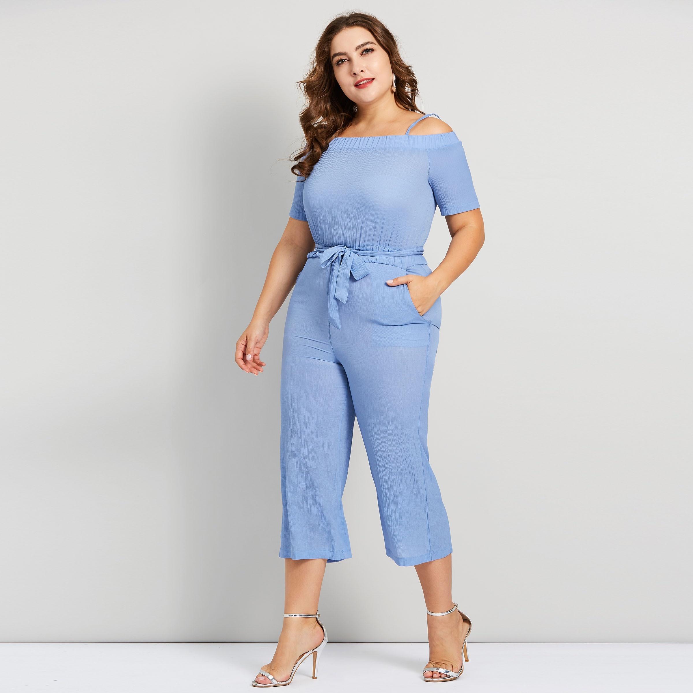 103c919b588 Plusee Plus Size 4XL Jumpsuit Women Lace Up Slim Slash Neck Sexy Blue Sweet  Fashion Casual