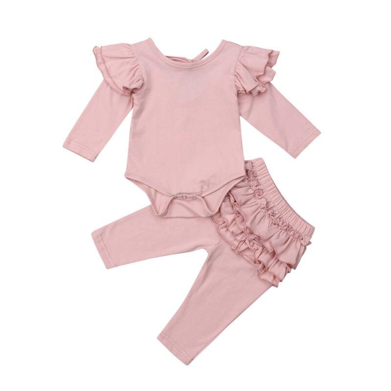 0-18 Mt Infant Neugeborenen Baby Mädchen Langarm Baumwolle Body Tops Rüschen Pp Hose Legging 2 Stücke Outfits Prinzessin Mädchen Kleiden Satz