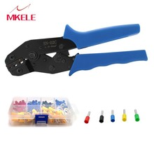 Portable SN-02C Mini European Straight Multi Jaw Self-adjusting Stripping Crimping Pliers Terminal E-2508 300PCS/Box Hot Sale