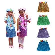 22563b6df40d 1pc Hawaii Party Decorations Adult Beach Flower Necklace Wreath Hula  Hawaiian Skirt Dress Kids Girls Costume