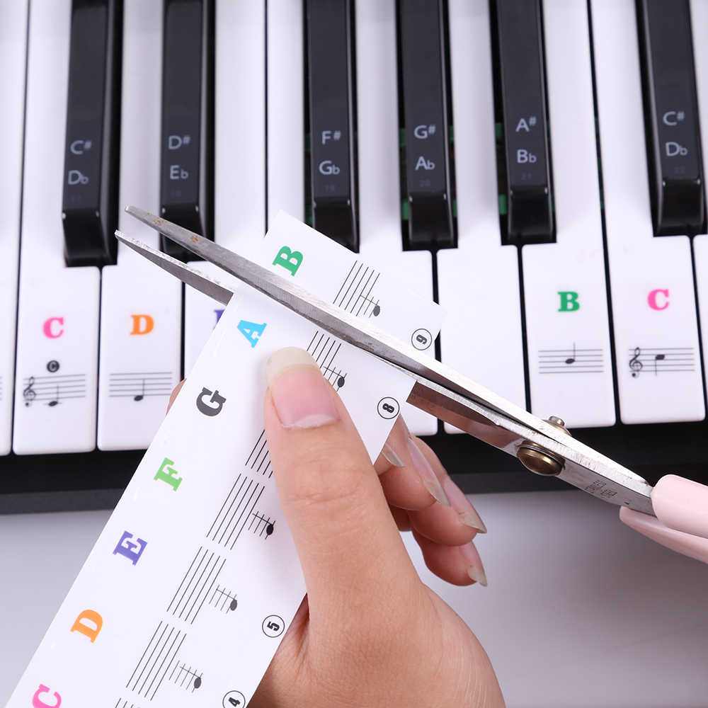 Transparent Piano Keyboard Sticker Laminated Piano Sticker Set PVC Educational Toys for Keyboard Instruments
