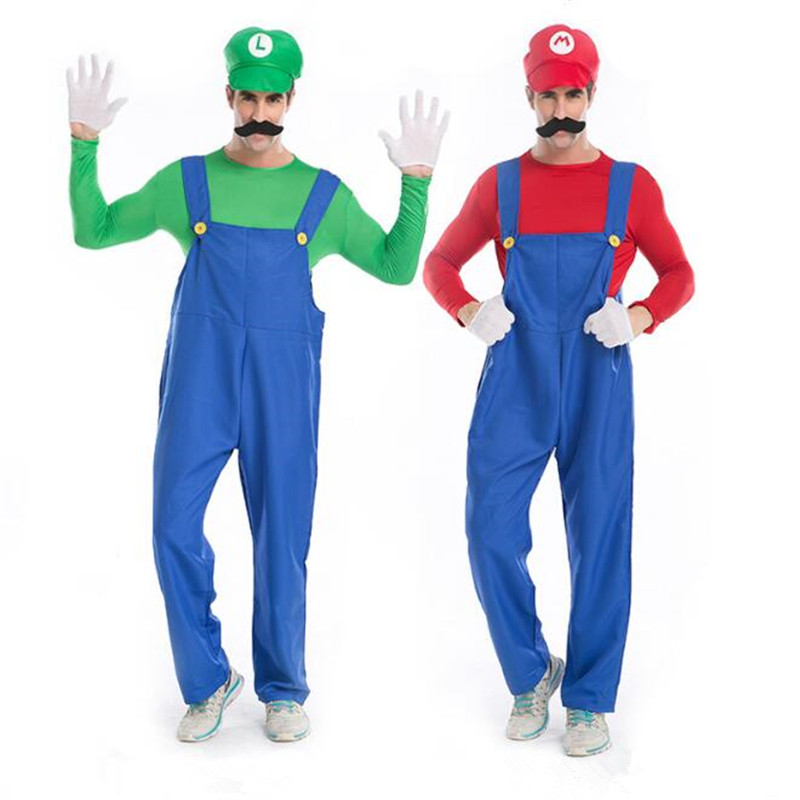 Deluxe Men's Super Mario Brother Costume Cosplay Halloween Adult Game Uniform