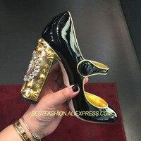 Популярная весенне летняя обувь, женские туфли лодочки Мэри Джейн, дизайнерские туфли лодочки на высоком квадратном каблуке с ремешком на щ
