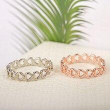 Модное серебряное кольцо из нержавеющей стали, высококачественное креативное кольцо в форме сердца из розового золота для женщин, свадебные ювелирные изделия