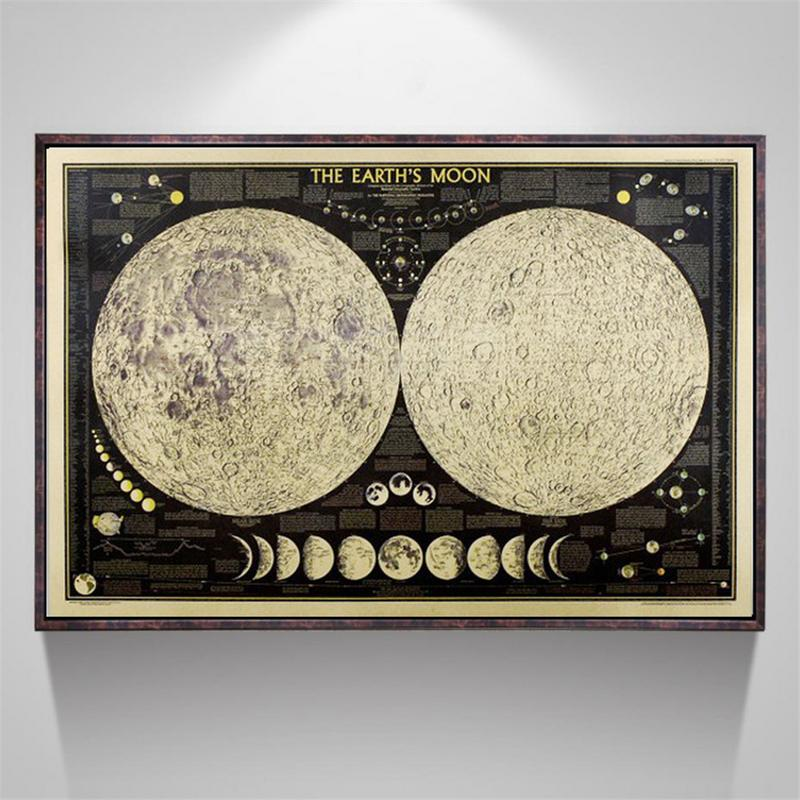Total Lunar Eclipse Retro Moon Kraft Paper Poster Home & Kitchen Cafe Decorative Painting Gifts Home & Living Decor