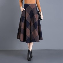 #0203 Autumn Winter A-Line Plaid Wool Skirts Womens Temperam