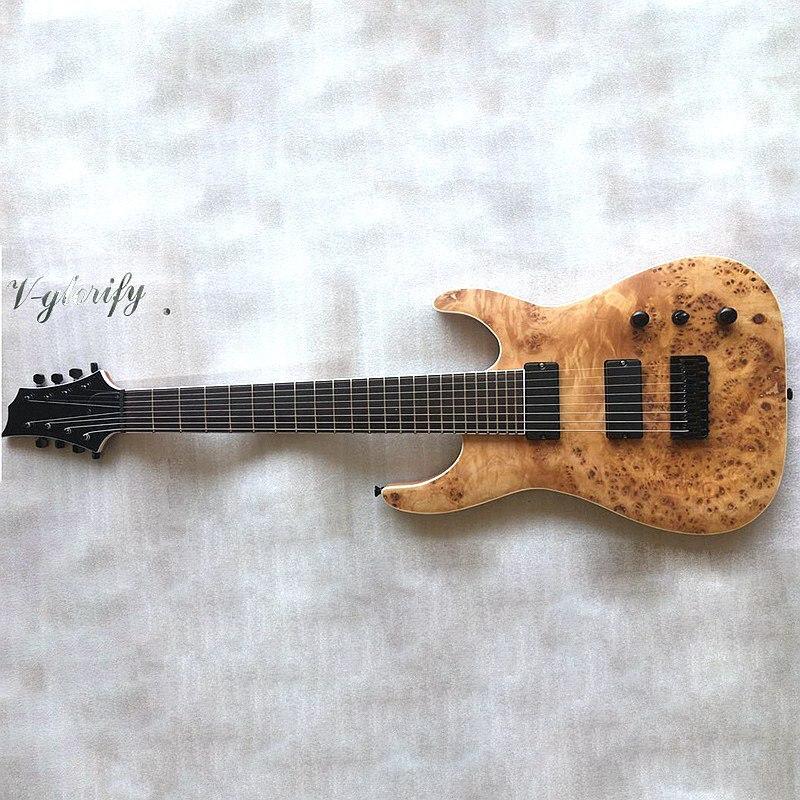 Guitare électrique 8 cordes en bois massif acajou de bonne qualité