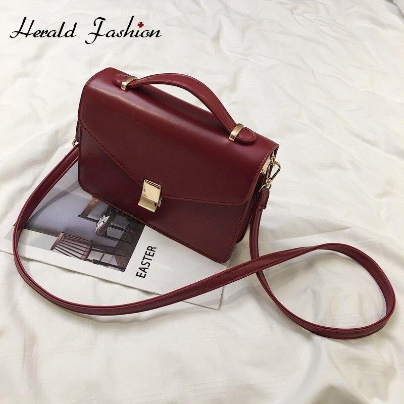 Herald Fashion  Vintage Leather Female Top-handle Bags Small Women Shoulder Bag Ladies' Crossbody Messenger Bag Casual Handbags