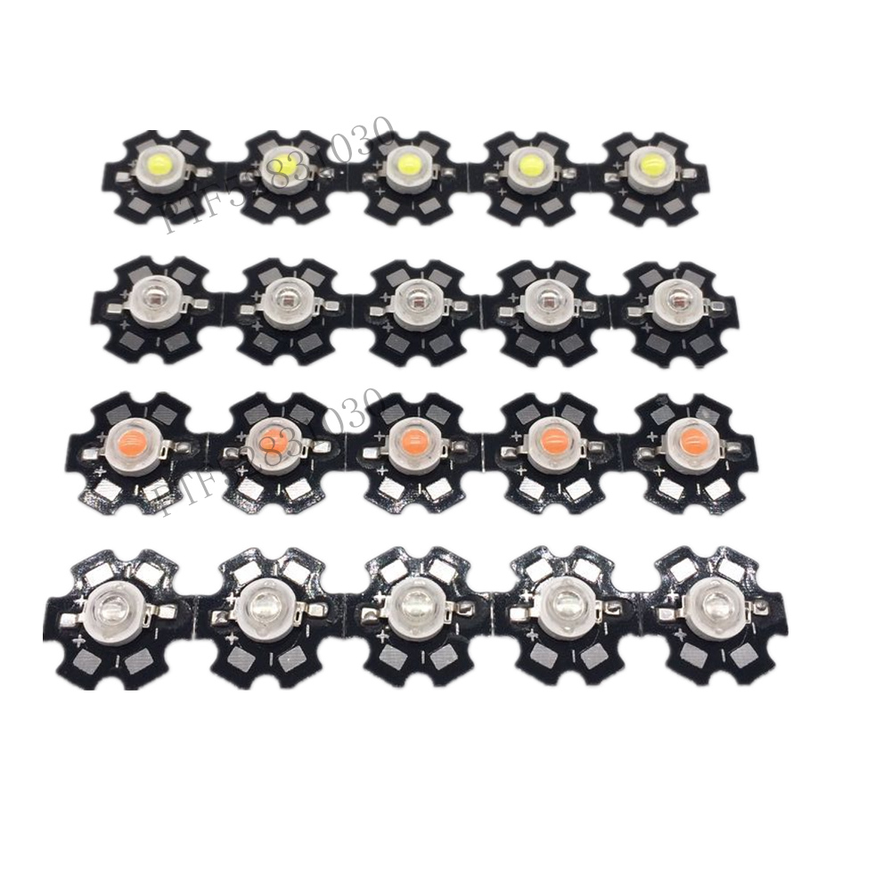 50pcs 1W 3W High Power LED Full Spectrum White Warm white Green Blue Deep Red 660nm Royal blue IR UV With 20mm Black Star PCB in Light Beads from Lights Lighting