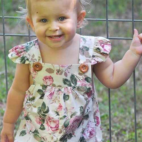 0-24M יילוד פעוטות בייבי בנות פרחוני הדפסת Romper סרבל קיץ תלבושת בגדים