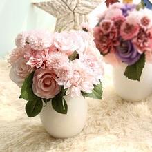 1Bunch Artificial Flowers Bouquet Rose Dahlia Fall Vivid Fake Flower For Wedding Home Party Christmas Decor Silk