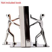1 Pair Shelf Novelty Organizer Table Decoration Stationery School Supplies Kung Fu Metal Bookend Silver Documents Keeper Office
