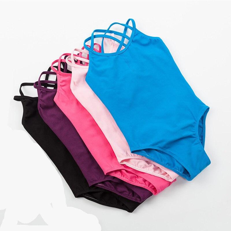 Girls Leotard Dancewear Camisole Ballet Bodysuit Pink Double-Strap Black Sleeveless Blue