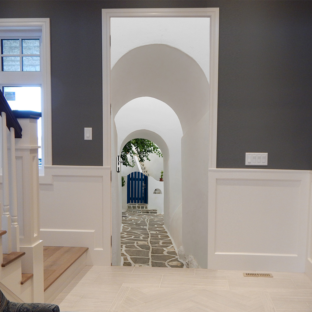 DIY Greek Paros Arch 3D Door Stickers PVC Material Waterproof Doors Poster Wall Decal Sticker For Living Room Bedroom Home Decor