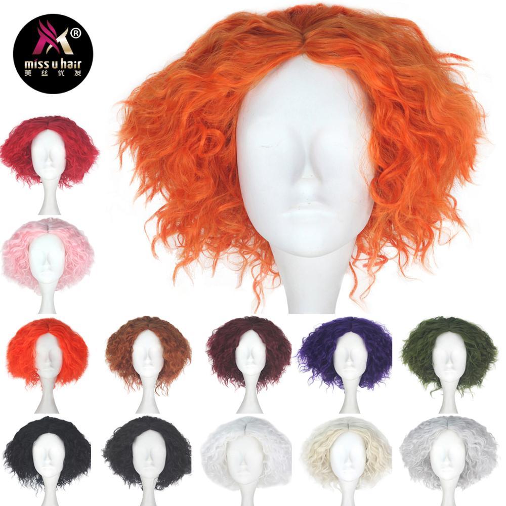 Miss U Hair Short Kinky Curly Hair Unisex Red Orange Black Green Pink Purple Color Movie Role Play Hair Cosplay Wig Halloween