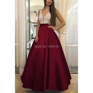 Image 2 - Menoqo V Neck Beads Bodice Open Back A Line Long Evening Dress Party Elegant Vestido De Festa Fast Shipping Prom Gowns