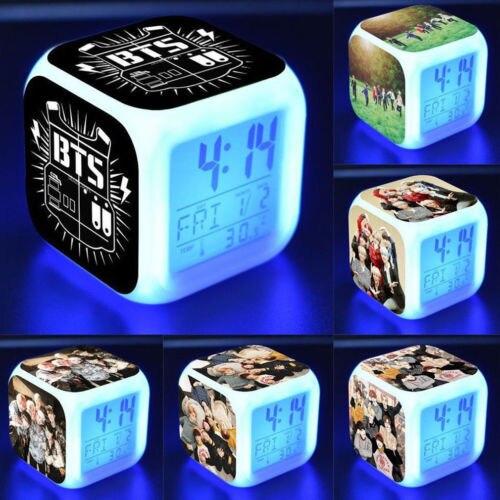 KPOP BTS BT21 Bangtan Boys Alarm Table Watch Color Changing Clock Night Light JIMIN Bangtan Boys Album Love Yourself