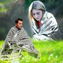 1.3m x 2.1m Portable Waterproof Outdoor Camping Emergency Space Rescue Thermal Mylar Blankets Travel Survival Tools(China)