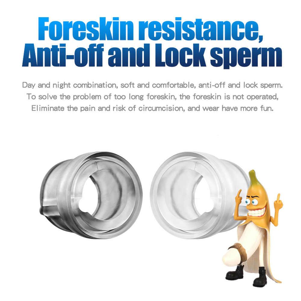 Anneau de manchon de pénis de CockRing de prépuce de Silicone pour l'éjaculation de retard