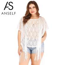 bd84347dcecd9 2019 Fashion Sexy Lace Blouses Women Plus Size Beach Cover Up Floral Lace  Fringed Sheer Bikini Top Swimsuit Coverups White tunic