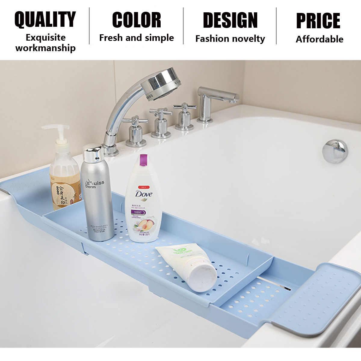 Adjustable Bathtub Pemegang Rak Jembatan Bathtub Caddy Rak Nampan Shower Tub Makeup Handuk Organizer Memperpanjang Ponsel Tablet Pemegang Buku