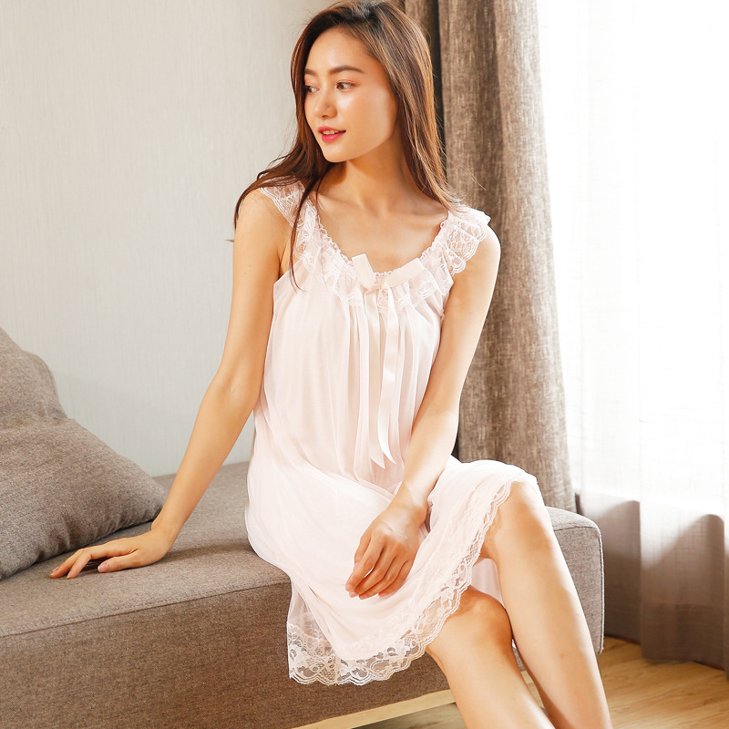 2019 Spring Summer Women Cotton Nightdress Sleeveless Female Sexy Lace Sleepwear Sweet Princess   Nightgown     Sleepshirts