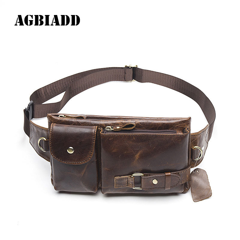 Genuine Leather Waist Bag Men'S Leather Men Waist Bag Heuptas Belt Bag Bolsos Para Cintura Hombres Bolso De Cintura Waist Packs