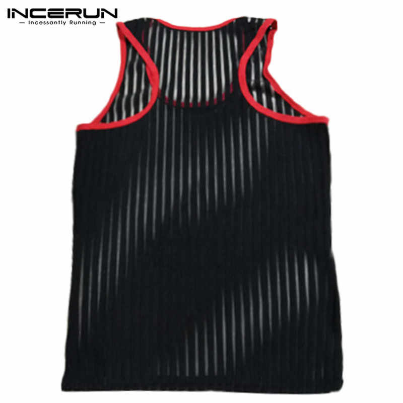 INCERUN Mesh Sleeveless Men Tank Tops See Through Breathable Transparent Sexy Tee Tops Muscle Fashion Nightclub Party Men Vests