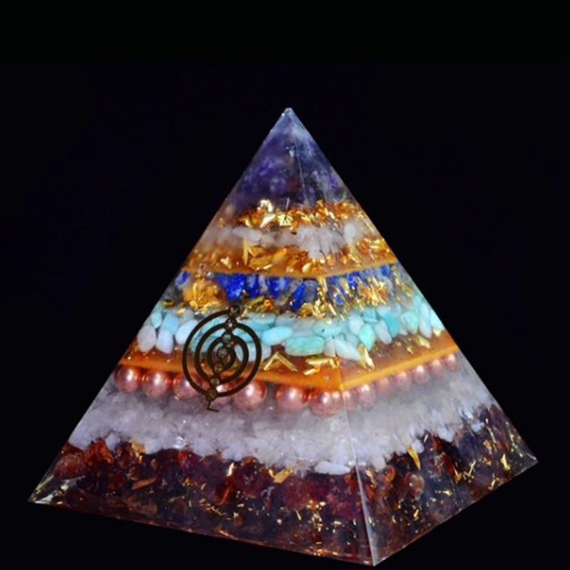 Orgonite Chakra Healing High Frequency Energy Seven Chakra Pyramid Meditation Balance Healing Yoga Transit Resin Decoration