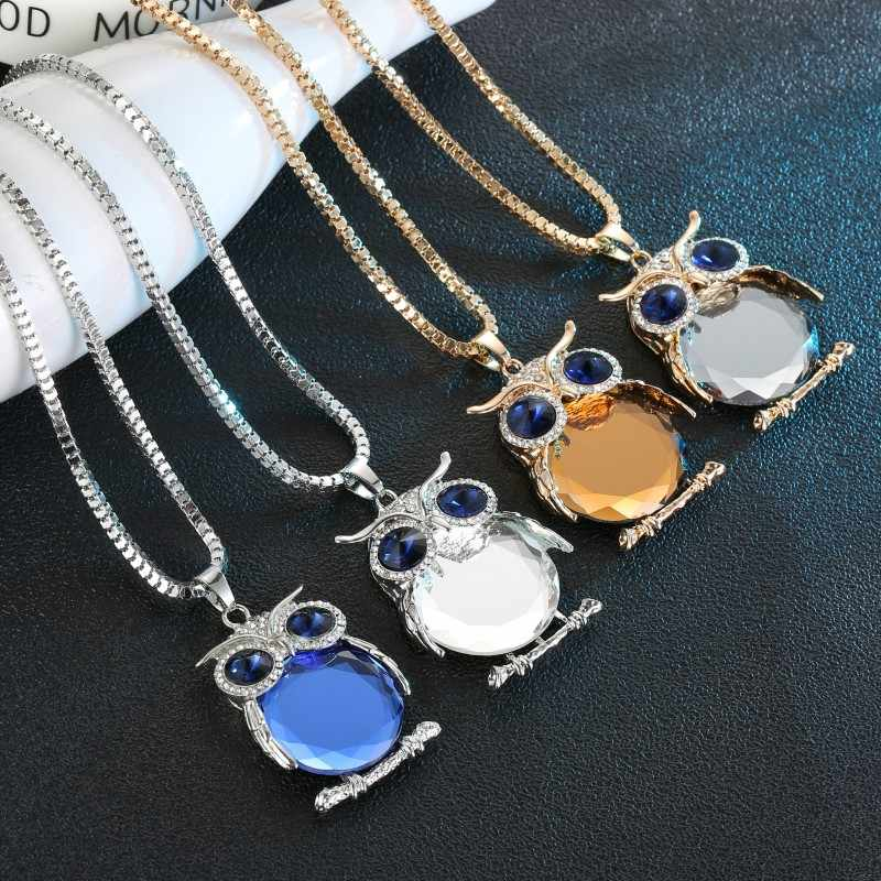 Trendy Sweater Chain Necklace Women Owl Rhinestones Crystal Pendant Necklaces Jewelry Accessories Personalized Necklaces Women