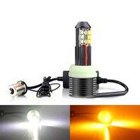 Car LED 1156 BA15S P21W Canbus DRL Turn Signal Light BAU15S PY21W T20 7440 W21W White Yellow Dual color Bulb DC12V