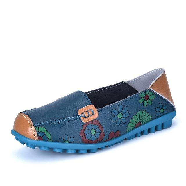 4ea71381bdc Leather Women Shoes Woman Loafers Ballet Flower Print Flats Flexible Peas Female  Moccasins Casual Ethnic Dance