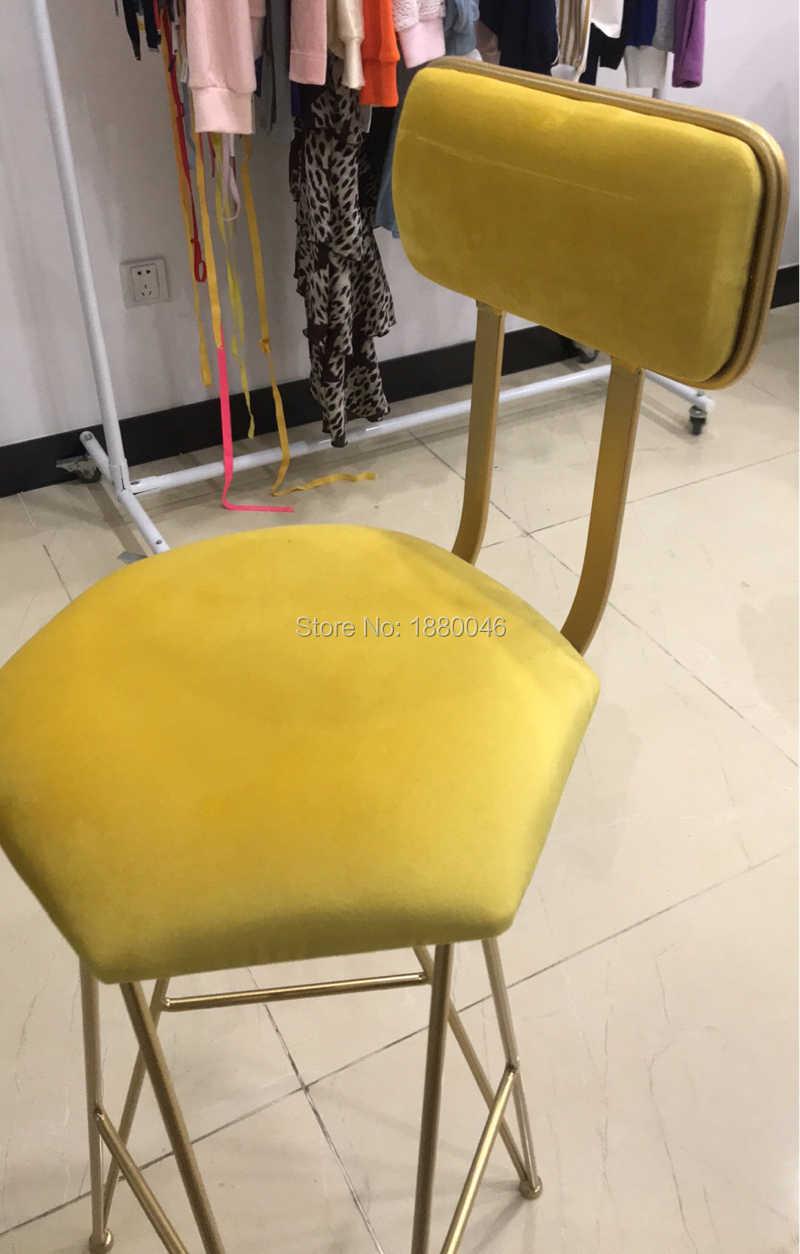 Сельский стиль фланелет золотой стул Отель стул для свадьбы Лифт Бар Стул высокий стул креативный кофе стул современный