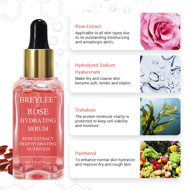BERYLEE Rose Nourishing Face Serum Moisturizing Deep Hydrating Repairing Anti-aging Remove Wrinkles Whitening Facial Skin Care