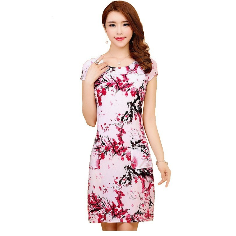 L-5XL 2019 Women Dresses Plus Size Slim Tunic Milk Silk Print Floral Printed Vestido Feminino Loose Casual Dress
