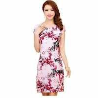 Vestido de verão feminino coleção 2019 G-5G, vestido de verão de manga curta de seda Milk, vestido com estampa floral estilo de verão casual gola O, Vestidos de Festa