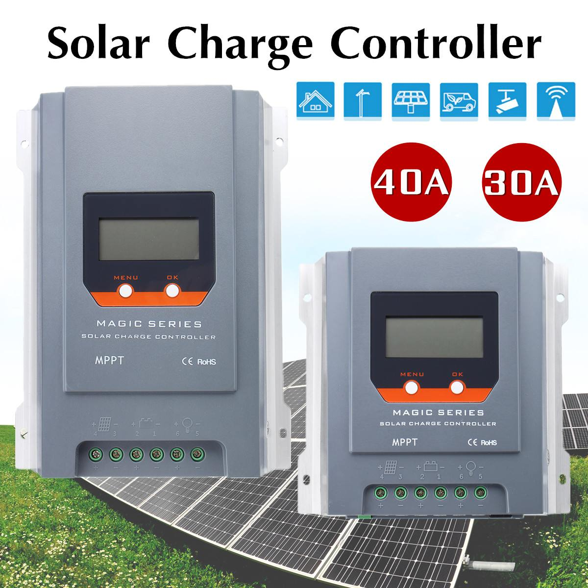 цена 30A 40A MPPT Solar Charge Controller 12/24V LCD Auto Battery Charger Regulator Tracking Efficiency 99.9% Two Navigation Buttons